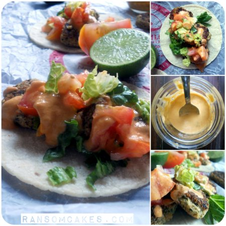 Mini Falafel Tacos with Sriracha Tahini Lime Sauce