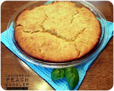 Cornbread Peach Cobbler - Vegan Gluten-free
