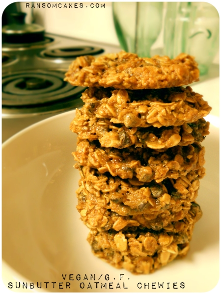 Vegan, Gluten-free Oatmeal Sunflower Seed Butter Cookies